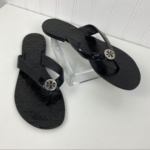 Tory Burch Thora Black Patent Leather Sandal 8